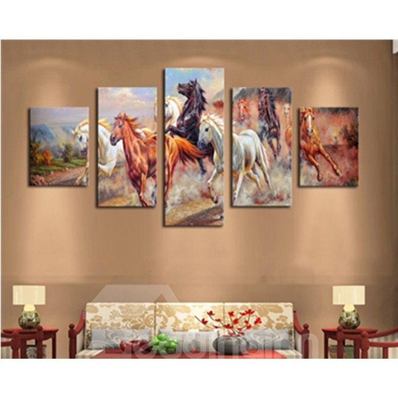 Running Horses 5-Panel Canvas Hung Non-framed Wall Prints