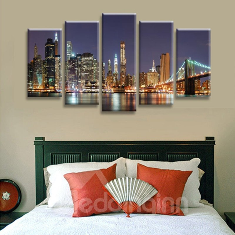 City Night Scenery 5-Panel Canvas Hung Non-framed Wall Prints
