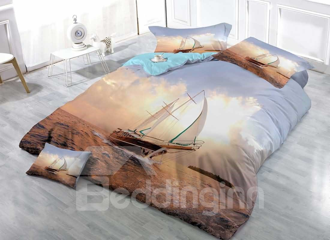 3D Boat Sailing on the Ocean Printed Cotton 4-Pieces Bedding Sets/Duvet Covers