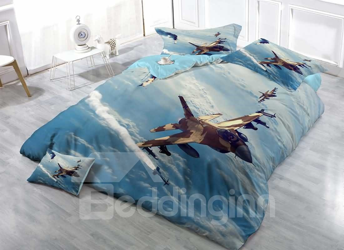 Soaring Military Aircraft Cotton 3D Printed 4-Pieces Bedding Sets/Duvet Covers