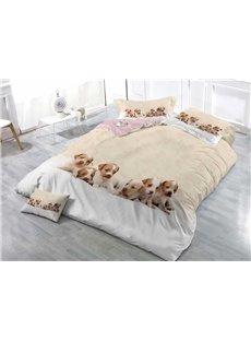 3D Puppies Digital Printing Cotton 4-Piece Bedding Sets/Duvet Covers