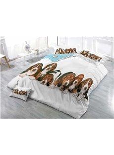 3D Beagle Puppies Printed Cotton 4-Piece Bedding Sets/Duvet Covers