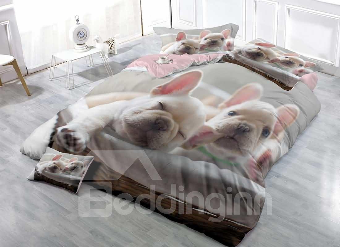 Bulldog Light Grey Printed Cotton Bedding Sets Duvet