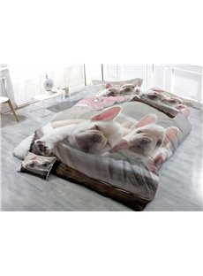 3D French Bulldog Printed Cotton 4-Piece Bedding Sets/Duvet Covers
