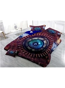 3D Cyber Technology Eye Button Printed Cotton 4-Piece Bedding Sets/Duvet Covers
