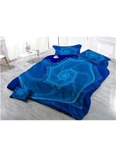 3D Blue Vortex Printed Cotton 4-Piece Bedding Sets/Duvet Covers