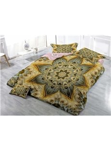 3D Golden Floral Printed Cotton 4-Piece Bedding Sets/Duvet Covers