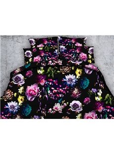 Colorful Floral 3D Printed 4-Piece Bedding Sets/Duvet Covers