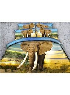3D Elephant Digital Printing 4-Piece Bedding Sets/Duvet Covers