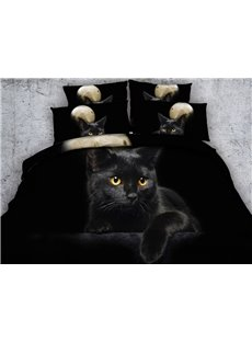Black Kitten Digital Printing 4-Piece Bedding Sets/Duvet Covers