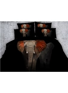 3D Red Ears Elephant 4-Piece Bedding Sets/Duvet Covers