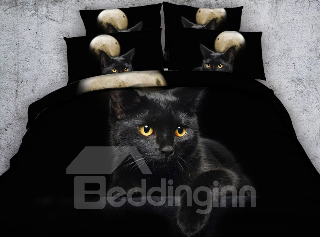 3d Black Kitten Digital Printing 5 Piece Tencel Comforter Sets Pic