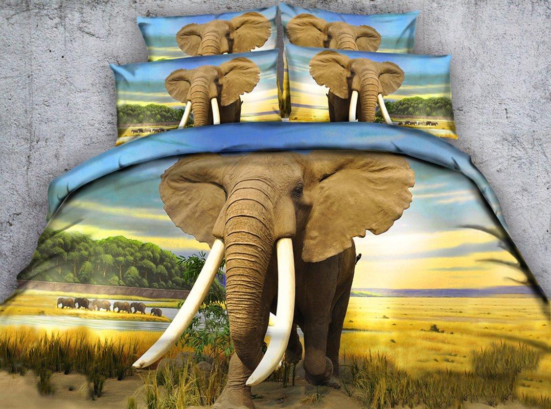 Elephant in the Wild 5-Piece Tencel Comforter Sets
