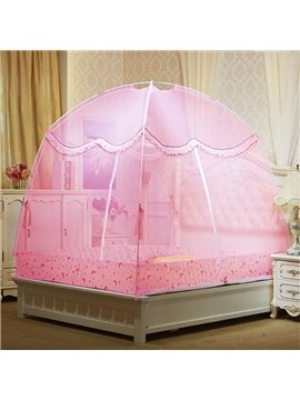Folding Polyester Two Openings Laced Mongolian Yurt Bed Net