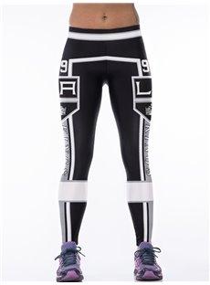 Sporty Style Letter Printed Black Women's 3D Leggings