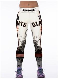 Sporty Style Ink Printed White Women's 3D Leggings