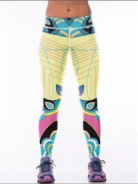 Casual Style Line and Cartoon Printed Colorful 3D Leggings