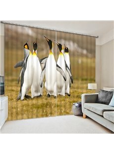 Penguins Singing in the Grassland 3D Printed Polyester Curtain