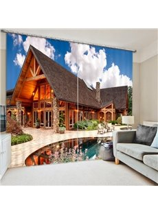Seaside Holiday Villa 3D Printed Polyester Curtain