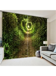 Secluded Green Path View 3D Printed Polyester Curtain