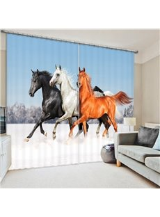 Colored Horses Running 3D Printed Polyester Curtain