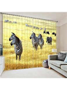 Zebra Migration in the Grassland 3D Printed Polyester Curtain