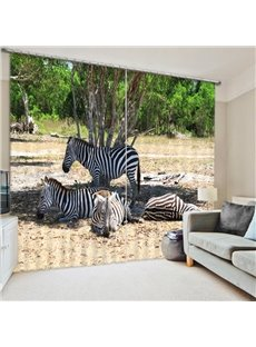 Zebra Standing under the Shade of Tree 3D Printed Polyester Curtain