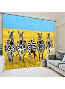 Fanny Zebra Family 3D Printed Polyester Curtain