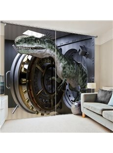 Dinosaur out of the Treasury 3D Printed Polyester Curtain