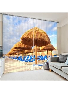 Leisurely Holiday in the Sun 3D Printed Polyester Curtain