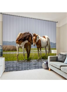 Couple Horse Standing on the River 3D Printed Polyester Curtain
