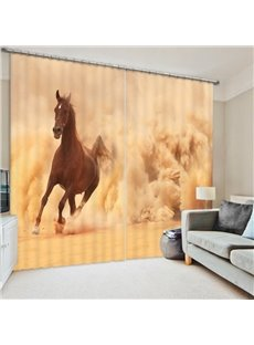 Brown Horse Running in the Sand 3D Printed Polyester Curtain
