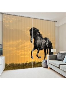 Black Horse Running in the Grassland 3D Printed Polyester Curtain