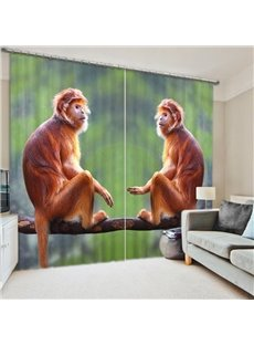 Couple Cute Monkeys Sitting Face to Face 3D Printed Curtain