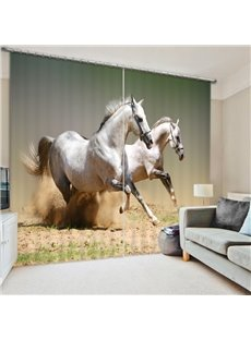 Two White Horses Running on the Sand 3D Printed Polyester Curtain