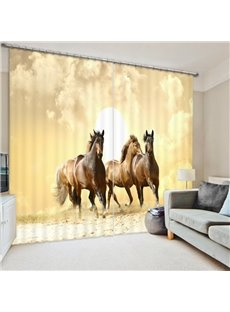 Three Brown Horses Running 3D Printed Polyester Curtain