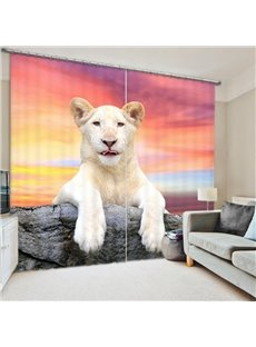 White Lion Lying on the Stone 3D Printed Polyester Curtain
