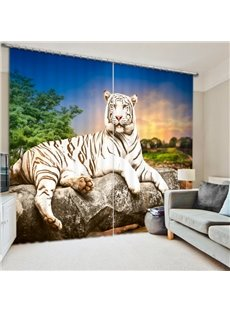 White Tiger Lying on the Stone 3D Printed Polyester Curtain