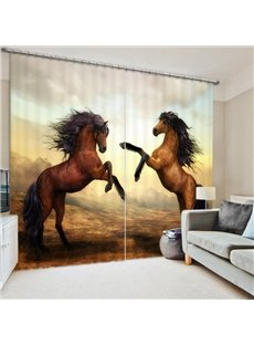 Two Brown Horses Standing 3D Printed Polyester Curtain