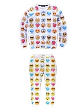 White Different Emotions Pattern Personality Men's 3D Sweatshirt Sets