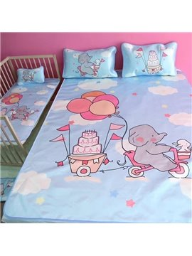 Summer Cool Cute Elephant Ice Silk 3-Pieces Blue Bedding Mat