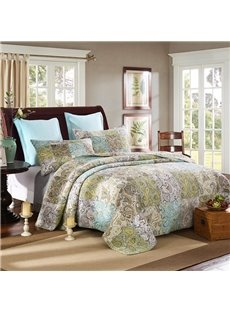 Bohemian Style Paisley Printed Patchwork Cotton 3-Piece Bed in a Bag
