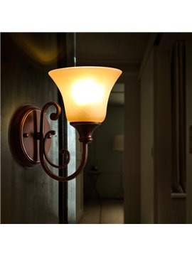 Brown Base and White Classic Glass Cover 1 Light Source Wall Light