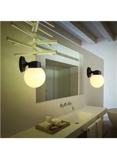 Korean Style Concise Glass and Hardware Materials Simple Wall Lamps