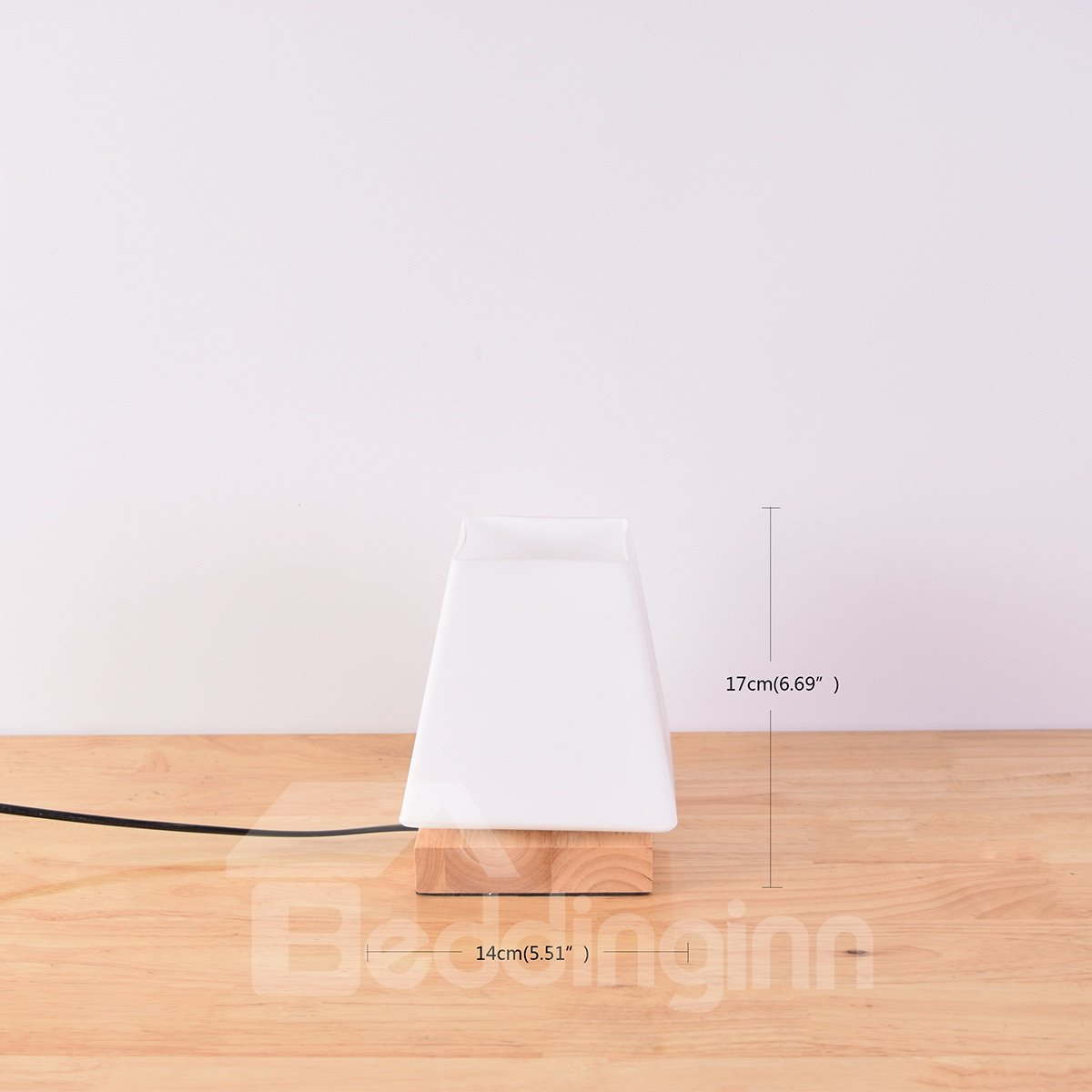 White Trapezoid Cube Glass with Wooden Base 1 Bulb Table Lamp