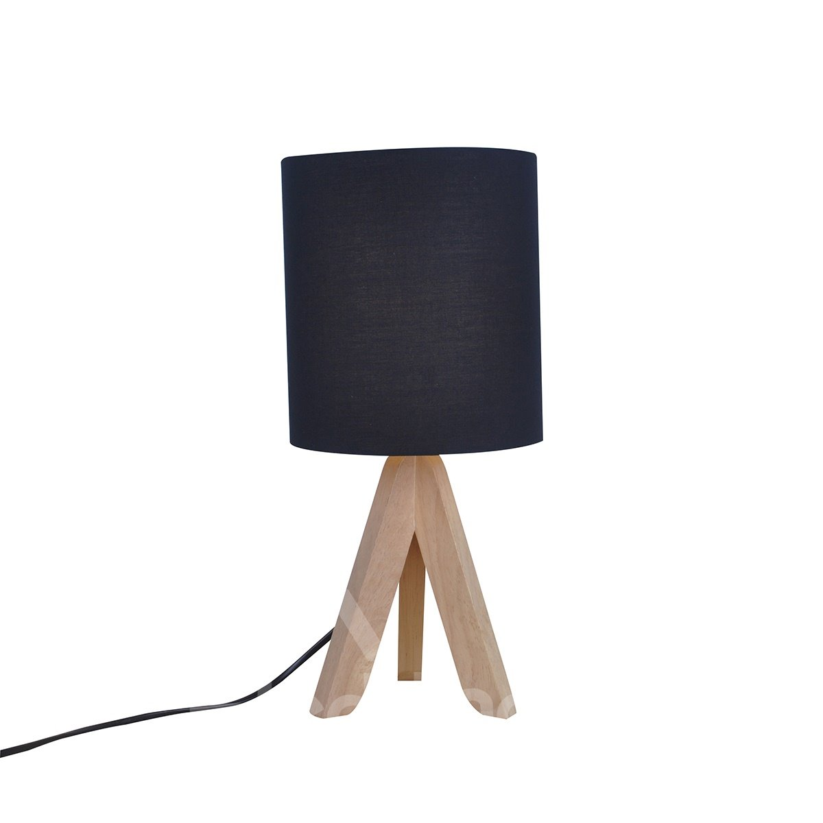 7.09×14.96in Black Shade and Wooden Base 1 Bulb Table Lamp