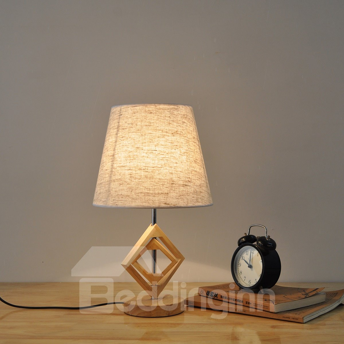 7.87×16.54in White Cloth Shade and Wooden Base with Prismatic 1 Bulb Table Lamp