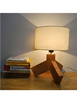 Yellow Tripod Wooden Base with White Shade Table Lamp