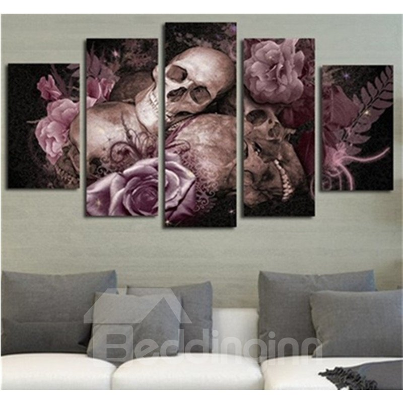 Pink Flowers and Skull Head Horrible 5-Piece Hanging Canvas Waterproof and Eco-friendly Non-framed Prints