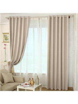 Blackout and Ventilate Solid Beige Grommet Top Curtain